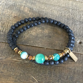 Aromatherapy Lava Stone and Green Agate, Heart Chakra Wrap Bracelet