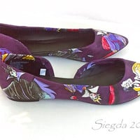 Love To be Bad Flats- Disney Villain Shoes- purple heels- gift for her- geek - Evil Queen- wedding flats- homecoming- prom