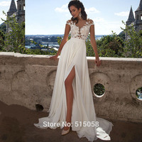 Beach Wedding Dresses 2016 Boho Wedding Dresses Chiffon Lace Appliques Bridal Gowns Country Bride Dress