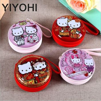 Women Kawaii Mini Bag Cartoon Hello Kitty Coin Purse kids Girls Wallet Earphone Box  Bags  Wedding Gift Wedding candy box