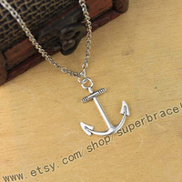 """Anchor necklace, Antique Silver necklace, """"women cuff necklace, express Personalized Jewelry, graduation gift"""