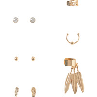Aeropostale  Feather Stud Earring & Ear Cuff 6-Pack