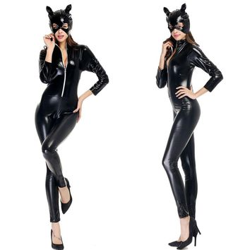 Halloween Costumes Adult Women Deluxe Leather Rider Motorcycle Jacket Cat Lady Catwoman Costume Catsuit Jumpsuit