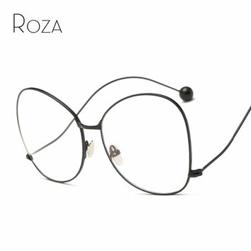 ROZA Sunglasses Women Read Glasses Mirror Lens Copper Frame Brand Designer Oversized Sun Glasses UV400 QC0486