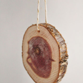 Wood Slices: Cedar Timber XL Medallions with Glitter Twine Ties--Set of 6--modern rustic wedding, guest book idea, Christmas tree ornament