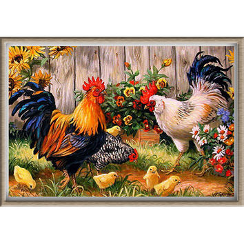 Diamond painting Cross stitch Diy Diamond embroidery Chickens in garden 45*30 square drill Diamond mosaic pasted Needlework zx