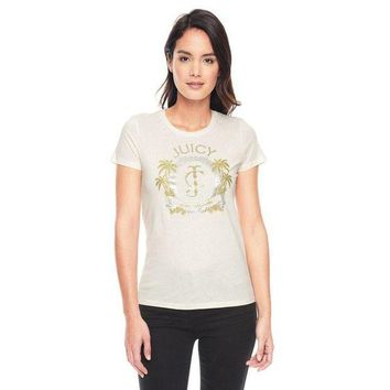 PEAP2Q Juicy Couture Palm Trees Graphic Tee T009 Women T-shirt White
