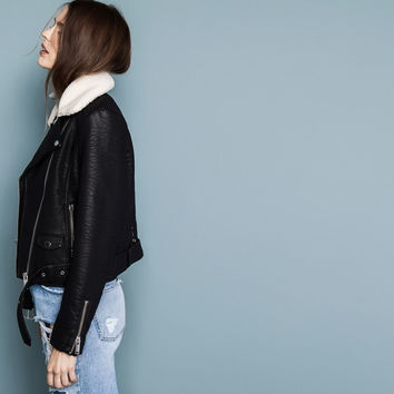 Faux leather biker jacket pull and bear