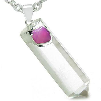 Double Lucky Individual Amulet Crystal Point Rock Quartz Pink Agate Gemstones Pendant Necklace