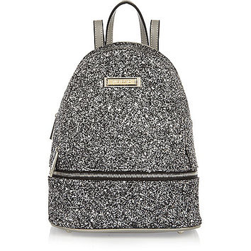 Silver glitter mini backpack