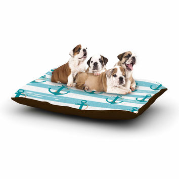 "afe images ""Nautical Anchor Pattern"" Teal Blue Illustration Dog Bed"