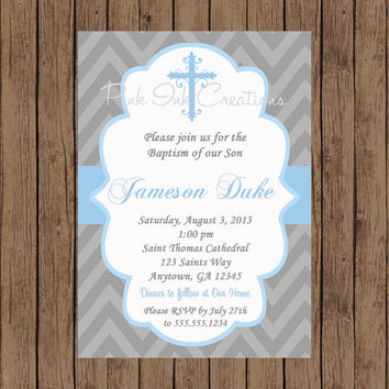 Boys Baptism Invitation - CHEVRON, Baby Dedication, First Communion, Confirmation, Christening - Any Color - PRINTABLE - YOU Print