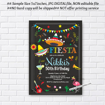 Mexican Fiesta Birthday invitation, Fiesta Party Birthday Invitation for any age, Whimsical design Colorful Festive birthday - card 405