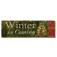 "Furnistar Decorative Christmas Wood Wall Sign Plaque ""Winter is Coming"" with Christmas Tree Green"