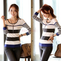 Autumn Winter New Korean Style Fashion Casual Long Sleeve Stripe Thin Sweater Pullover For Women Knitwear 19698|41001 = 1958194436