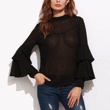 Spring Autumn Sexy Blouses Shirts Ladies Vintage Turtleneck Ruffled Solid Pullovers Long Sleeve