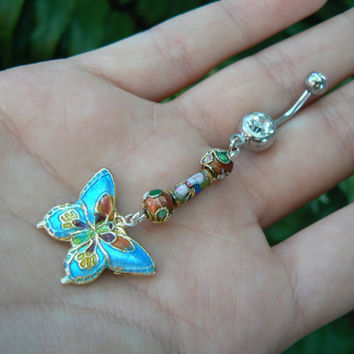 cloisonne butterfly belly ring TURQUOISE BLUE cloisonne in beach boho gypsy hippie belly dancer  fantasy beach hipster and fantasy style