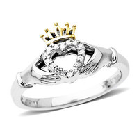 Diamond Accent Claddagh Ring in Sterling Silver and 14K Gold - View All Rings - Zales