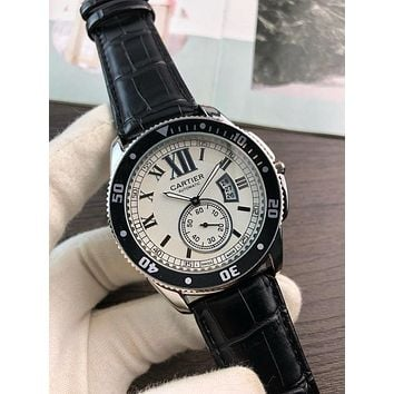 PEAP C046 Cartier Simple Leisure Automatic Leather Watchand Watches Black White