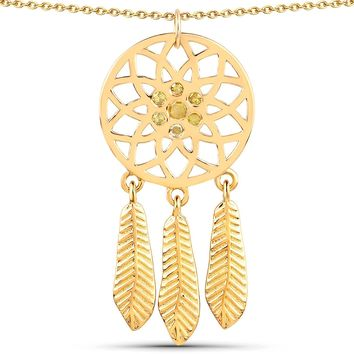 LoveHuang 0.18 Carats Genuine Yellow Diamond (I-J, I2-I3) Dream Catcher Pendant Solid .925 Sterling Silver With 18KT Yellow Gold Plating, 18Inch Chain