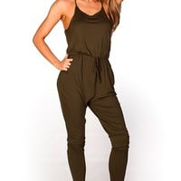 Chelsea Olive Green Strappy Casual Slouchy Jumpsuit with Pockets