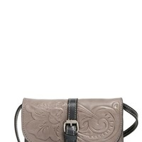 Patricia Nash 'Tooled Rose - Torri' Italian Leather Crossbody Bag - Grey