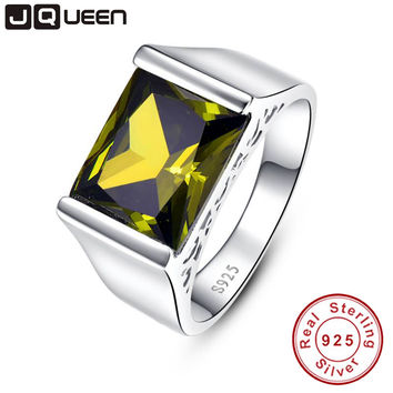 925 Sterling Silver Bridal Wedding Promise Engagement Ring 10.55 Carat Simulated Yellow Peridot s925 ring set brand jewelry