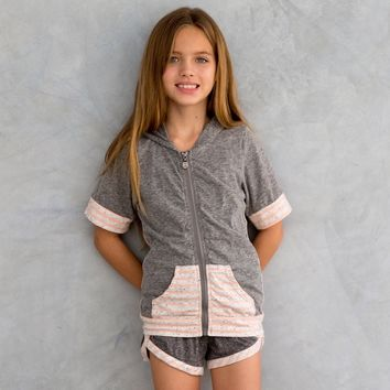 Lolo Short Sleeve Hoodie Peach Pit