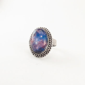 Nebula Galaxy Ring Cosmic Jewelry Adjustable Ring by cellsdividing