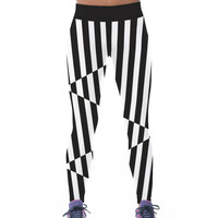Classics Stripes 3D Print Yoga High Rise Hip Up Slim Stretch Pants [6049060865]