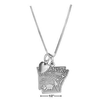 """STERLING SILVER 18"""" ARKANSAS STATE PENDANT NECKLACE WITH HEART CHARM"""