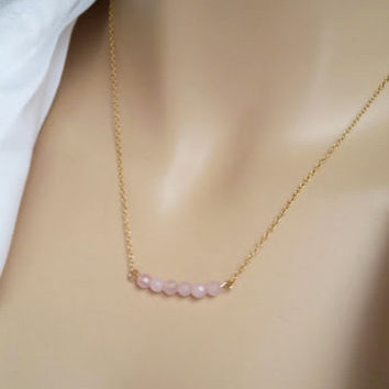 Gold Fill ROSE QUARTZ necklace, Make a wish necklace, Dainty necklace, Gold Bar Necklace, Layering Necklace, pink, Bridesmaids Gift Jewelry