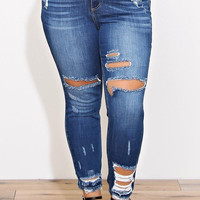 Kimra Plus Size Distressed Skinny Jeans