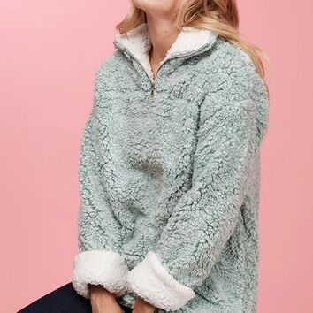 Fluffy Cloud Sherpa Pullover - Sage