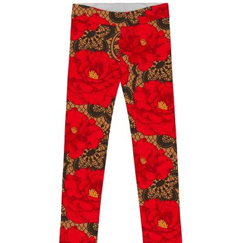 Hot Tango Lucy Cute Red Floral Printed Knit Leggings - Girls