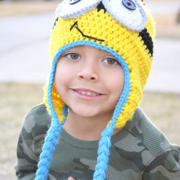 Crochet Minion cake smash outfit girl - Minion hat cake smash outfit boy - Minion Crochet hat - baby outfits for pictures - Newborn outfit