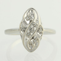 Vintage Diamond Cocktail Ring - 14k White Gold Size 6 3/4 - 7 Genuine .04ctw F2241