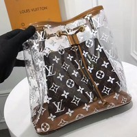 LV Transparent Bag  Louis Vuitton jelly bag crystal Bag Shoulder Bag Two Piece Set B-3A-XNRSSNB Coffee