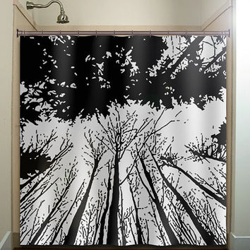 forest grove woodland winter trees shower curtain bathroom decor fabric kids bath white black custom duvet cover rug mat window