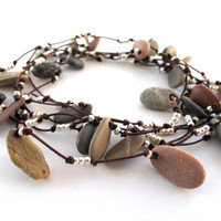 Beach Stone Jewelry Wrap Necklace - BUTTERFLY EFFECT by StoneAlone - Long Strand Pebble Jewelry Rock Necklace