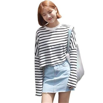 Women Kawaii T-shirt Autumn Long Sleeve O-Neck Striped Casual Harajuku Loose Tops Tees Fashion Female Clothing HT106