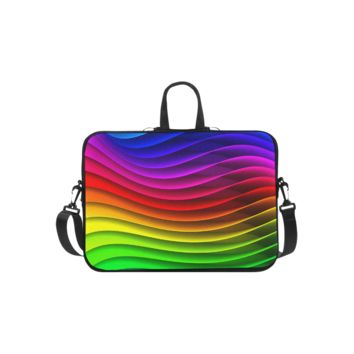 Personalized Laptop Shoulder Bag Glossy Rainbow Stripes Microsoft Surface Pro 3/4 Inch