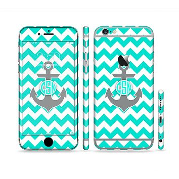 The Teal Green and Gray Monogram Anchor on Teal Chevron Sectioned Skin Series for the Apple iPhone 6