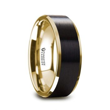 Gold Tungsten Wedding Band with Brushed Black Center