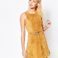 Monki Real Leather Suede Skater Dress