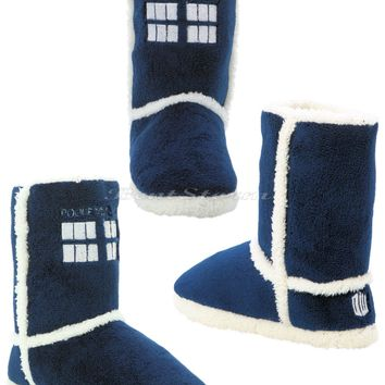Licensed cool BBC Doctor Who Tardis PLUSH Boots Slippers House Shoes Dr Whoovian Licensed NWT