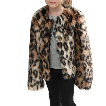 Winter Leopard Faux Fur Coat Jacket