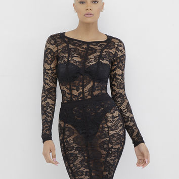 SAWYER LACE BODYCON SKIRT SET - BLACK