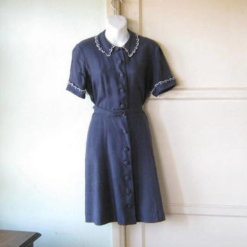 1940s-1950s Dark Blue Linen Dress w/ Scallop-Edge Collar; Short Sleeve Knee-Length Small-Medium Navy Day Dress; Flawed; Free Ship/U.S.
