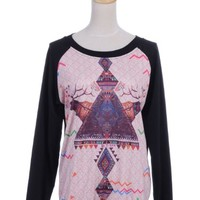 Anna-Kaci S/M Fit Black Large Trippy Tribal Inspired Front Print Pullover Top